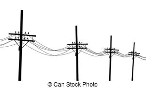 Drawn power line electricity pole Clipart Utility line free of