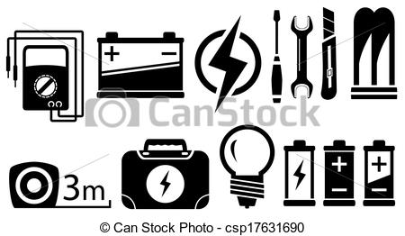 Electrical clipart icon Black set EPS of electrical