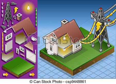 Electrical clipart lamp Csp9448861 Isometric house  house