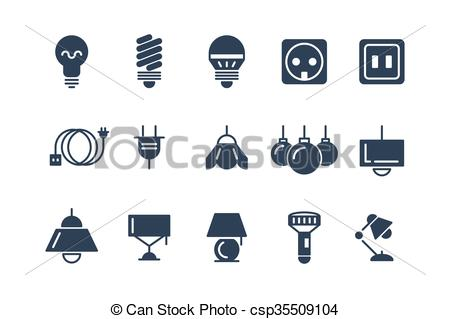 Electrical clipart lamp Set Lamp set and black