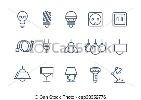 Electrical clipart lamp Set Lamp set and line
