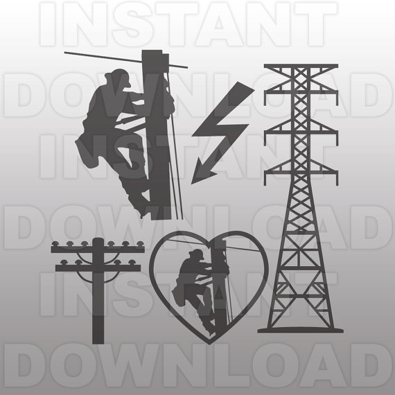 Electrical clipart lineman & Decal Clip Lineman SVG