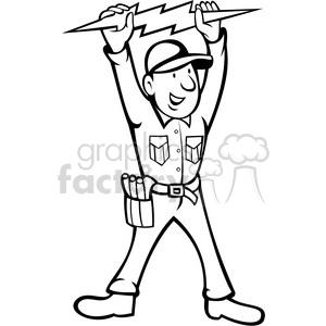 Electrical clipart thunderbolt Cartoon white black art electrician