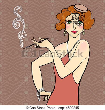 Elegance  clipart flapper Clipart Vector  girl Illustration