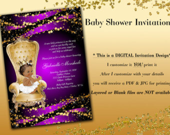 Elegance  clipart royal baby Baby Invitations invitation shower Purple