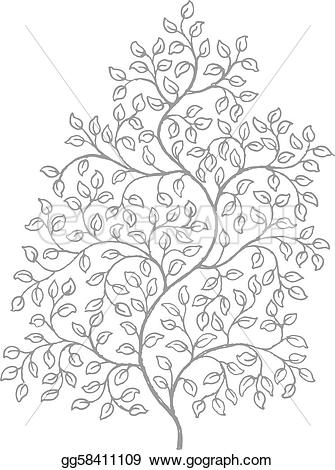 Elegance  clipart vine leaves Woodcut drawing Clipart illustrations curly
