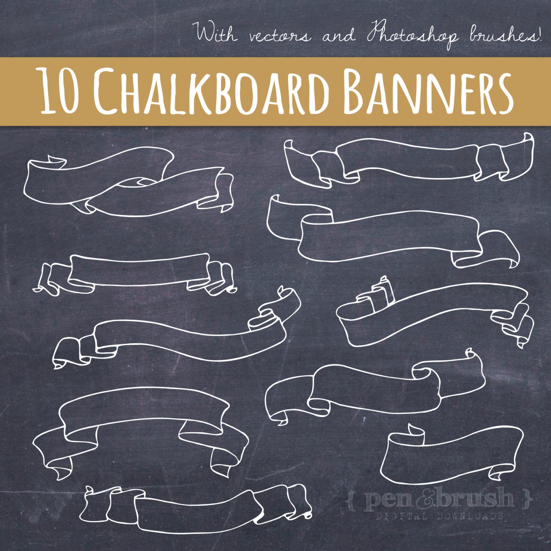 Drawn ribbon chalkboard Ribbons Hand Chalk & Banners