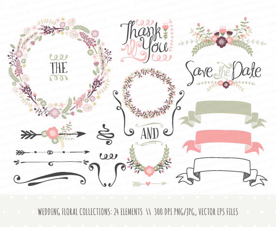 Elements clipart magnesium Wedding drawn wreaths flowers drawn