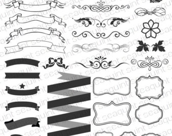 Element clipart banner design Clipart Textured Banner Ornate Elements