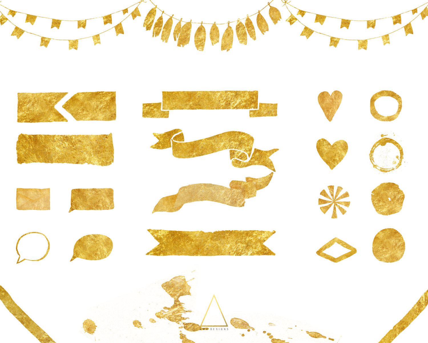 Element clipart banner design Transparent clipart ribbons Gold PNG
