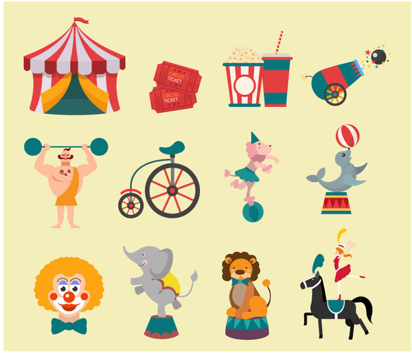 Element clipart circus Illustration commercial elements circus free