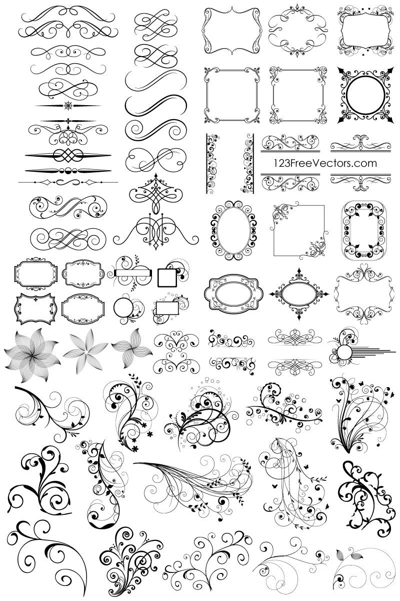 Ornamental clipart classic Pack Ornaments Floral 65 Ornaments