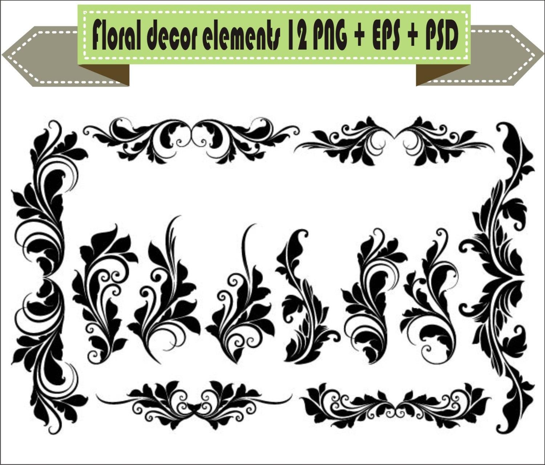 Decoration clipart vector Elements PNG EPS Flowers Floral