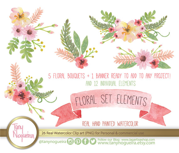 Elements clipart floral Wedding bouquet posies PNG Flowers