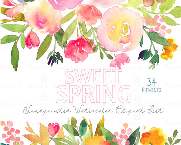 Elements clipart floral Elements clip flowers Clip Watercolor