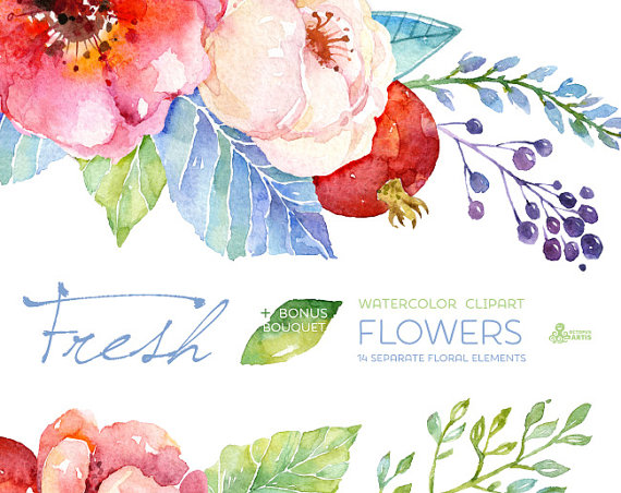 Water Color clipart flowery #2