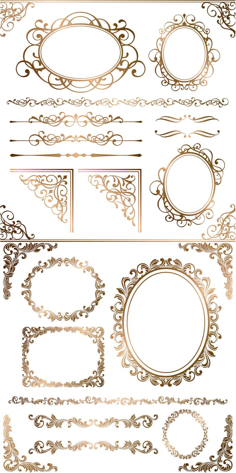 Element clipart gold decorative line Frames vintage frames ornamental Gold