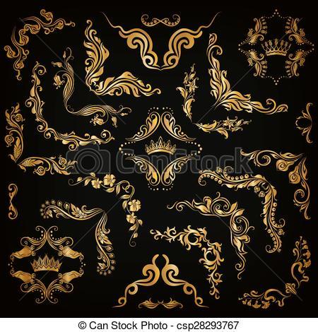 Element clipart gold decorative line Decorative frame Vector Vector gold