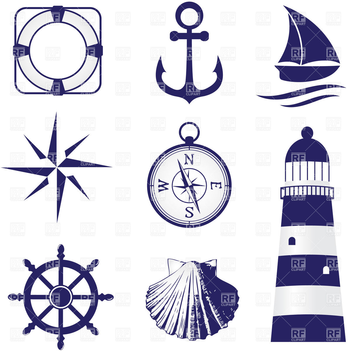 Lantern clipart nautical Clip Nautical Digital Sea Clipart