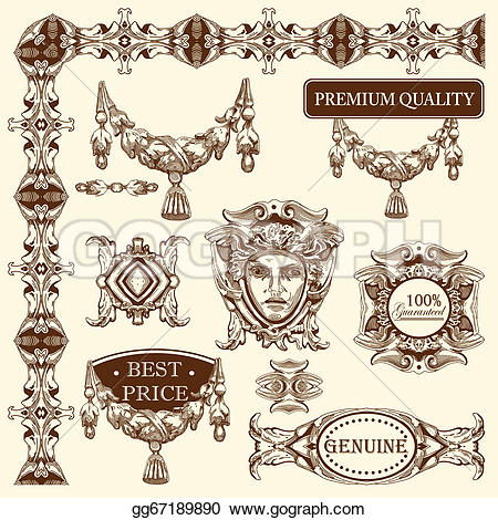 Element clipart ornamental Historical vector Ornamental design Stock