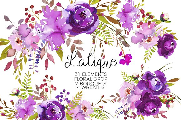 Element clipart purple watercolor floral Creative Illustrations Illustrations Violet Watercolor
