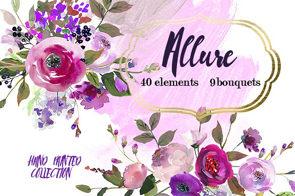 Element clipart purple watercolor floral Creative Pink Illustrations Pink Flowers