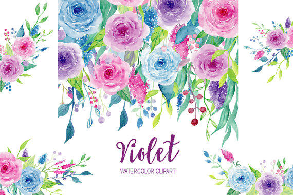 Element clipart purple watercolor floral Instant Shop floral arrangement Watercolor