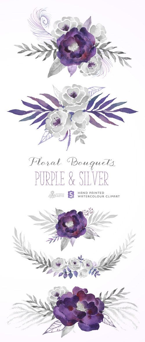 Element clipart purple watercolor floral Best Clipart Bouquets flowers Purple