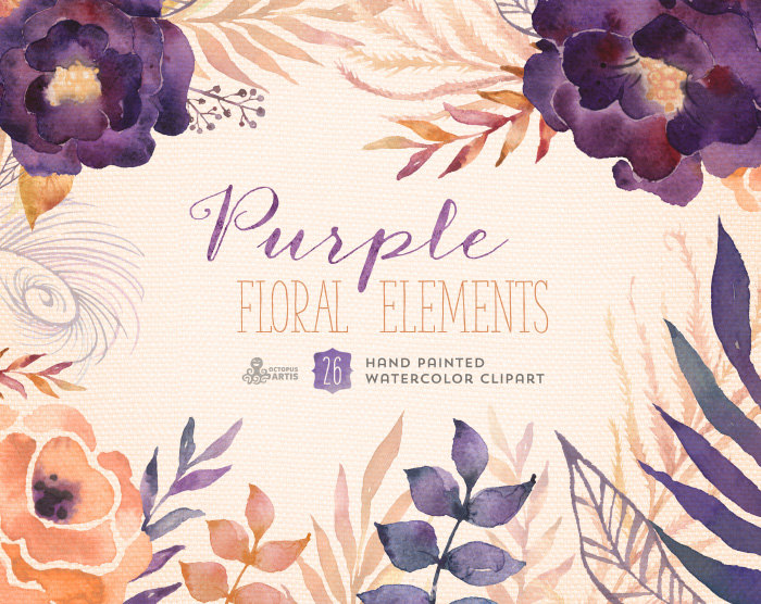 Element clipart purple watercolor floral Elements printable Digital wedding Purple