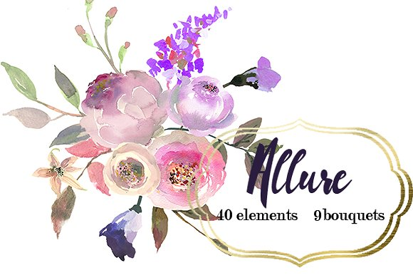 Element clipart purple watercolor floral Flowers Market  Illustrations ~