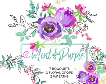 Element clipart purple watercolor floral Clip Digital Clipart Peony Purple
