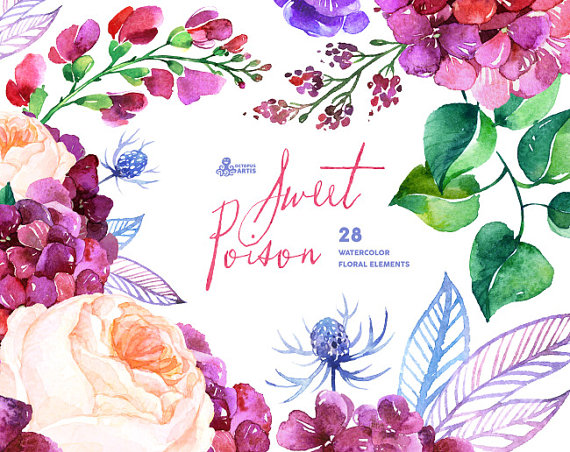 Element clipart purple watercolor floral 28 Elements Elements Sweet Sweet
