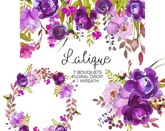 Element clipart purple watercolor floral Digital Elements Watercolor Art Purple