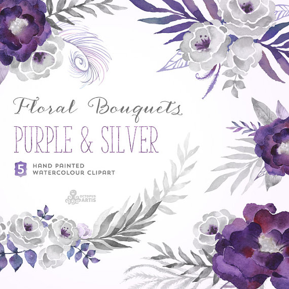 Element clipart purple watercolor floral Diy gray Bouquets flowers Purple