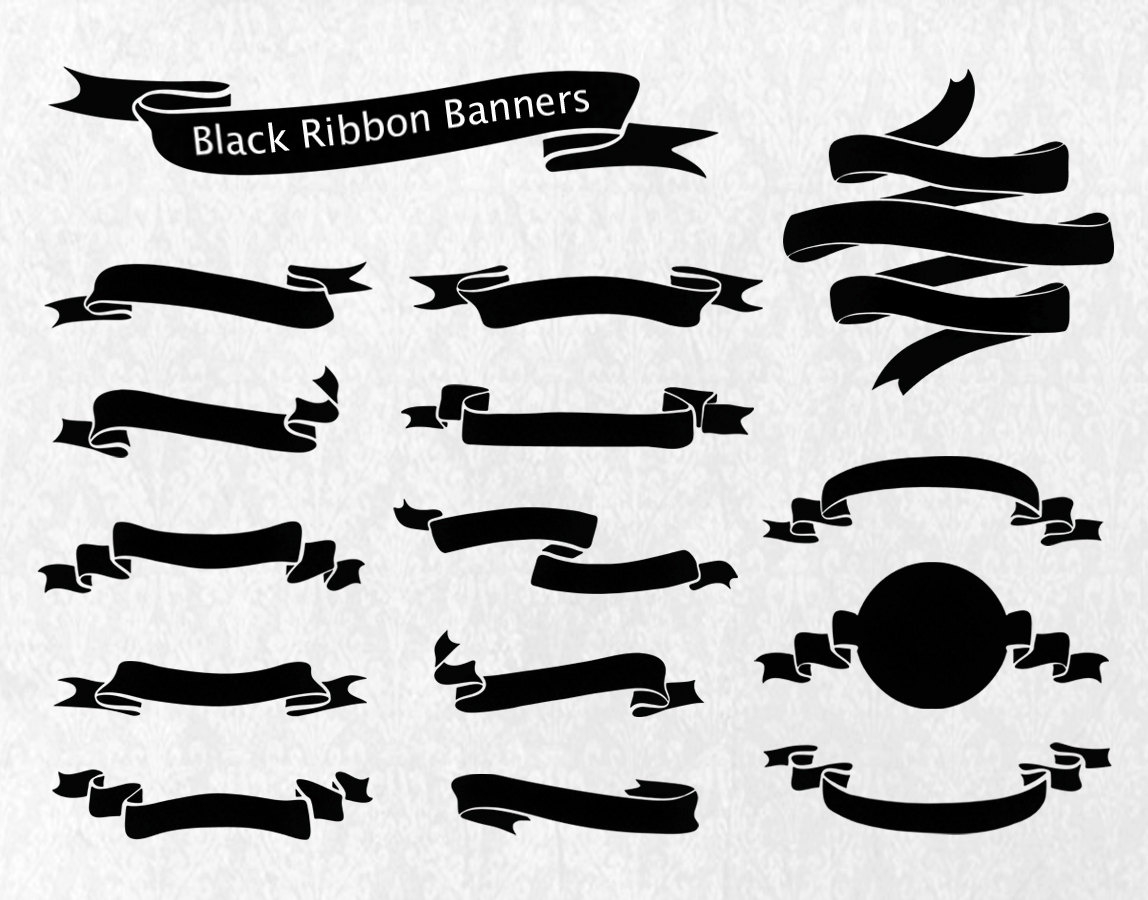 Element clipart ribbon banner template Black Elements Like Banners Ribbon