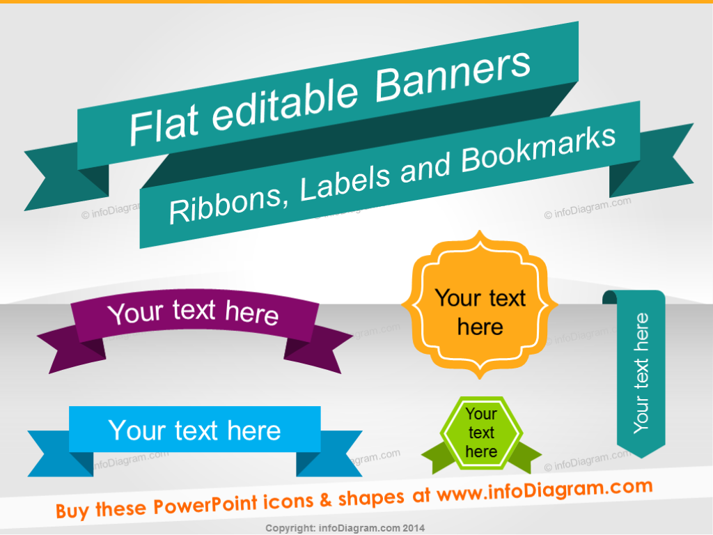 Elements clipart title banner Flat and Shapes Infographics Bookmarks