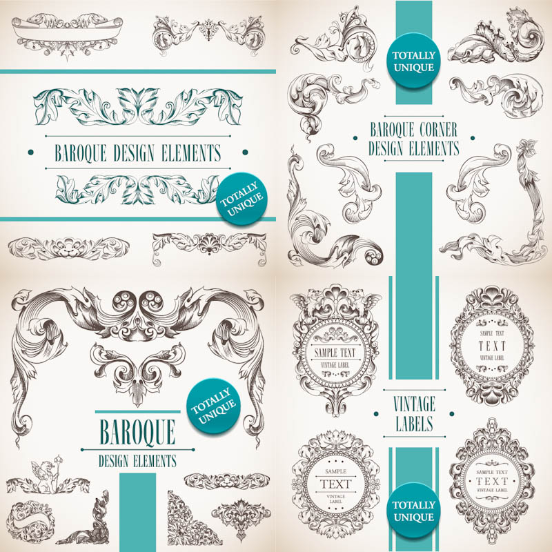 Decoration clipart baroque Of in Sets design 4