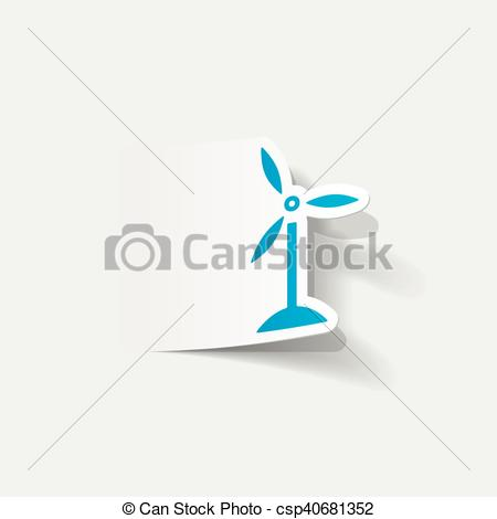 Element clipart wind Turbines Clipart realistic Vector element: