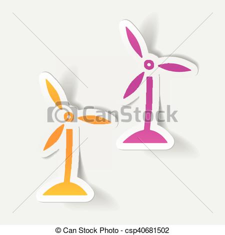 Element clipart wind Turbines Vector realistic Clipart element: