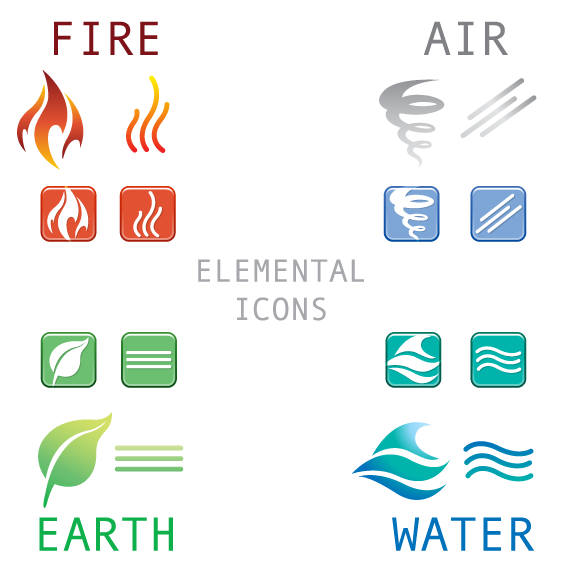 Elemental clipart decoration vector Earth and  Water Fire