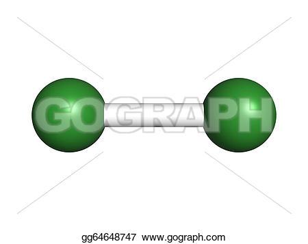 Elemental clipart Spheres Stock chlorine molecular model