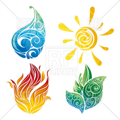 Elemental clipart abstract 37109 leaf water fire sun