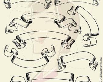 Drawn scroll ribbon Scrapbook element Element Embellishment DIY