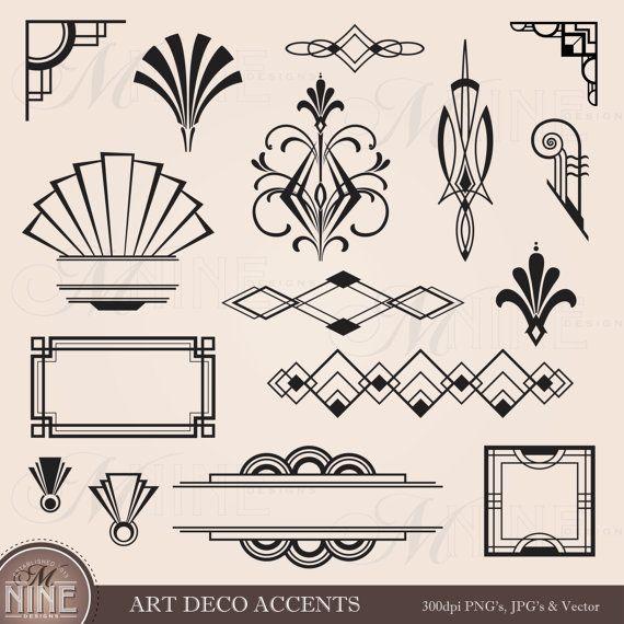 Lines clipart graphic art Design Frames DECO Clipart Instant