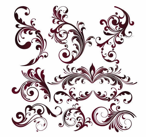 Elemental clipart floral Swirls Vector Graphicsy Floral decorative