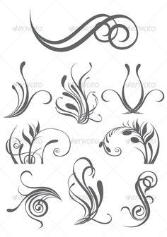 Elemental clipart floral Image Vector Black  Floral