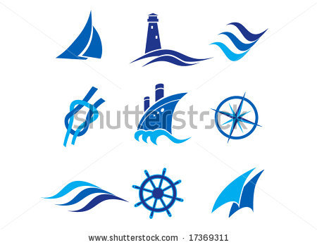 Elemental clipart nautical Vector stock wave and and