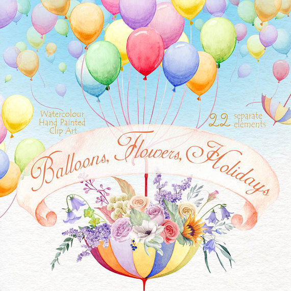 Elements clipart air Hand Wedding Elements Holidays Watercolour