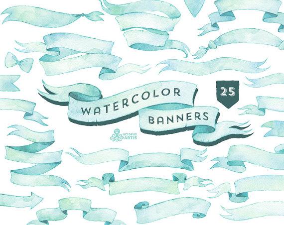 Elements clipart color Elements diy Hand painted blue