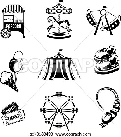 Elements clipart drawing Park isolated Vector Amusement white